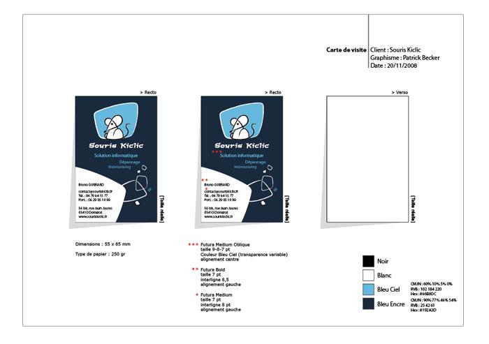 Charte de la carte de visite Souris Kiclic