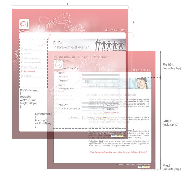 Découpage site web de Filcall