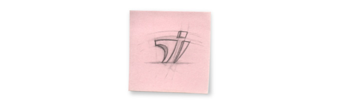 Esquisse sur post-it du logo Teletech International