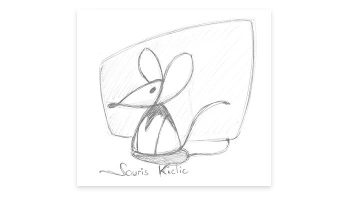 Esquisse 3 du logo Souris Kiclic