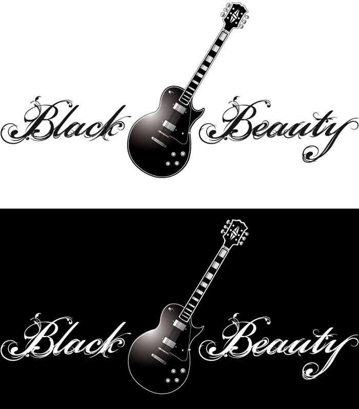 Typographie et guitare Black Beauty
