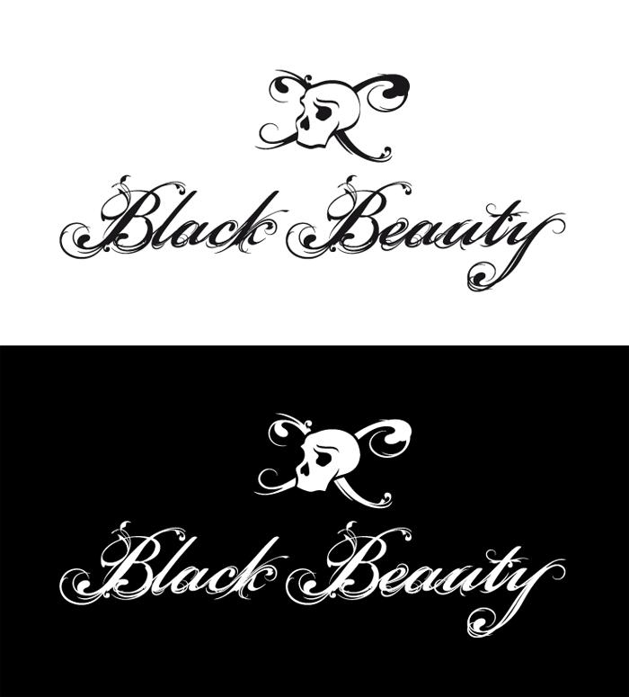 Typographie et tête de mort Black Beauty