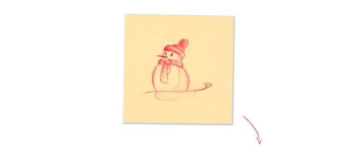 Post-it bonhomme de neige