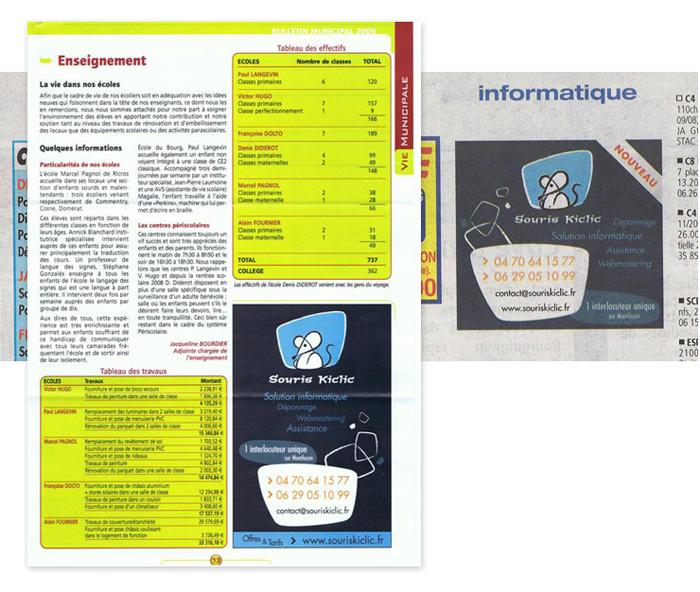 Publicités dans les journaux de Souris Kiclic