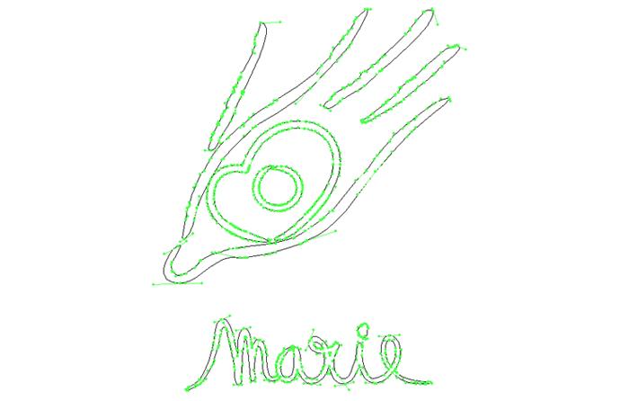 Tracé Illustrator du logo Marie