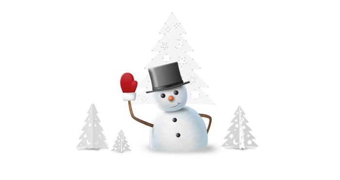 Visuel bonhomme de neige voeux 2013