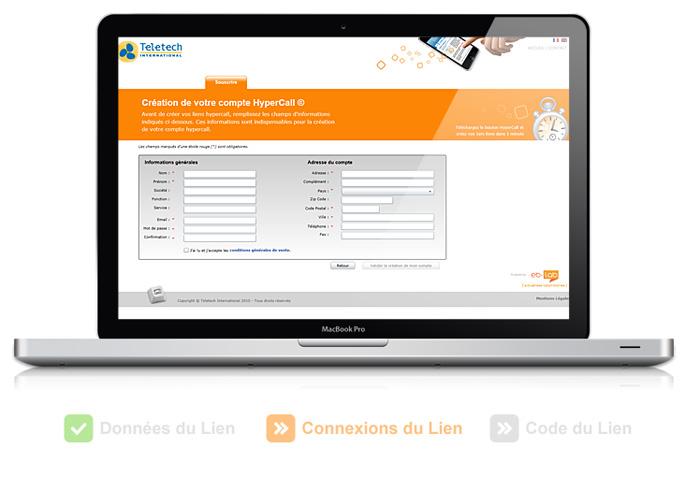 Visuel interface utilisateur Lien Hypercall
