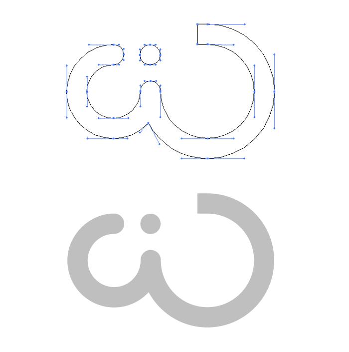 Tracé et forme du logo wide-design