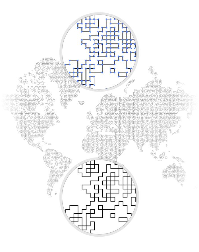 Visuel tracé sous Illustrator du monde