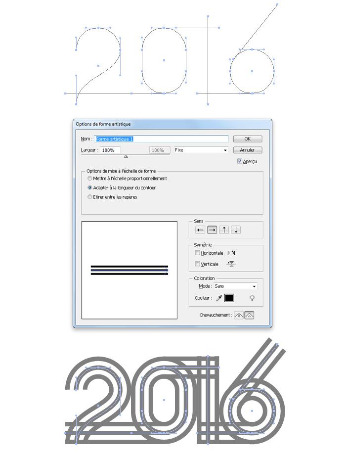 Visuel travail sous Illustrator du texte 2016
