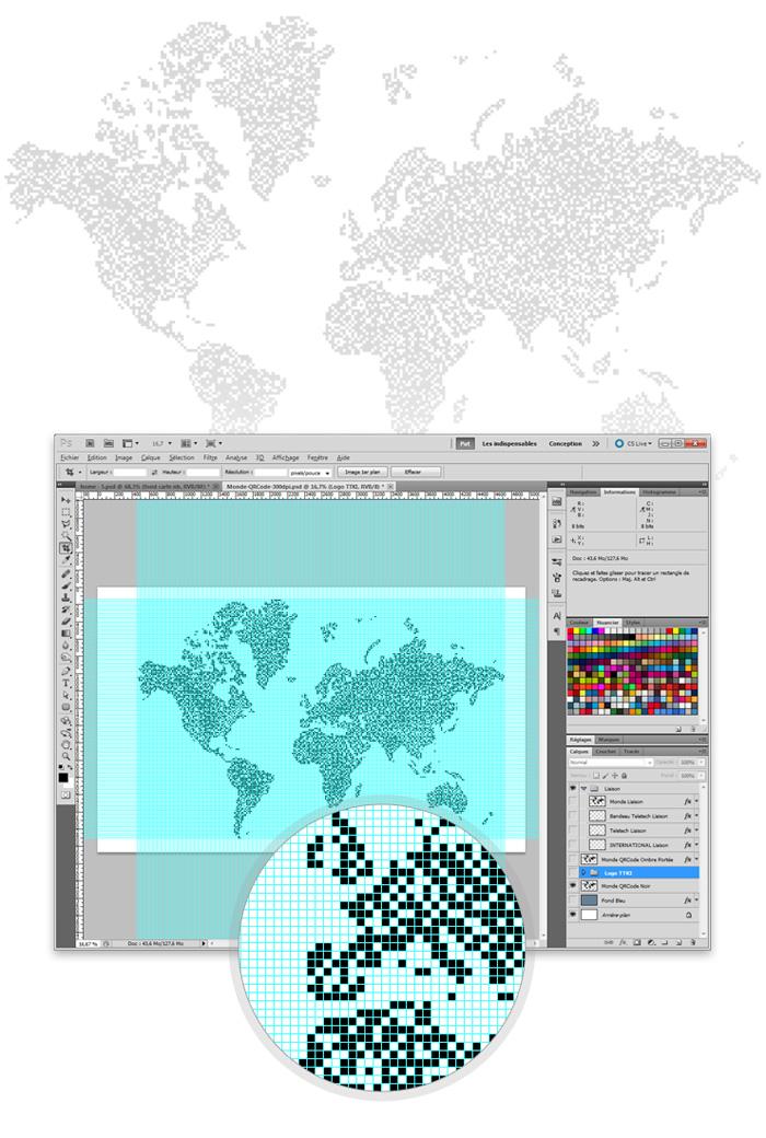 Visuel travail Photoshop en qr-code du monde