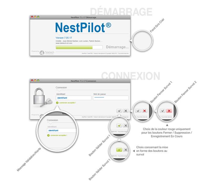 Visuel écrans connexion NestPilot