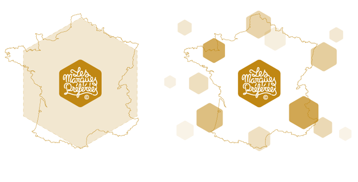 Visuel origine forme du logo Les Marques Préférées
