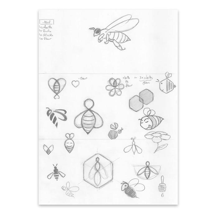 Esquisse dessin d'abeille