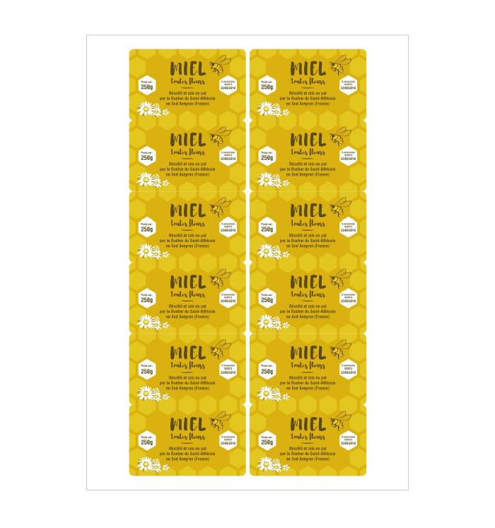 Planche étiquettes de miel