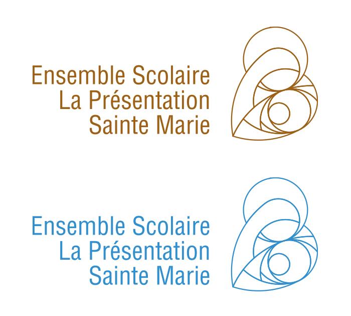Logo texte filaire La Vierge et L'Enfant couleur
