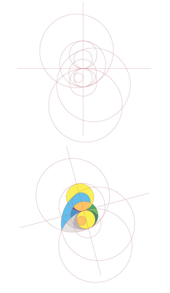 Construction du logo la Vierge et L'enfant avec cercles du golden ratio