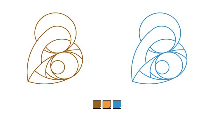 Logo filaire de La Vierge et L'Enfant en couleur