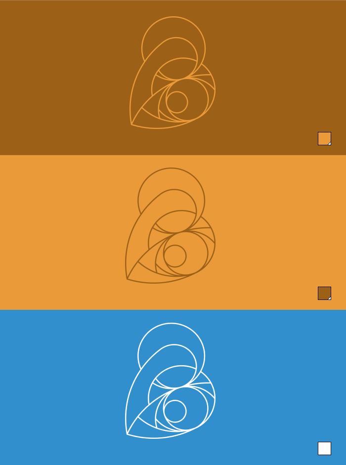 Logo filaire négatif de La Vierge et L'Enfant en couleur