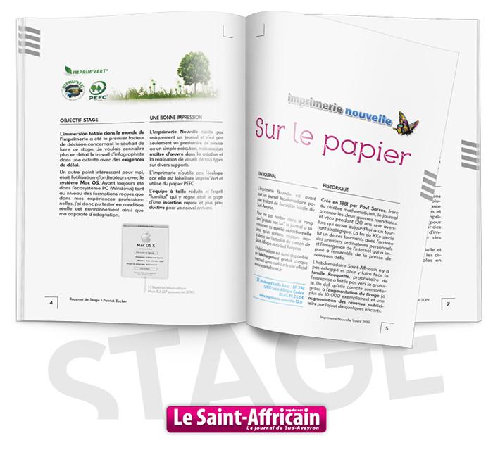 Pages rapport stage Imprimerie Nouvelle