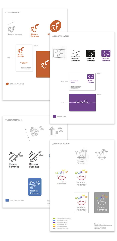 Planches concepts logo Réseau Femmes