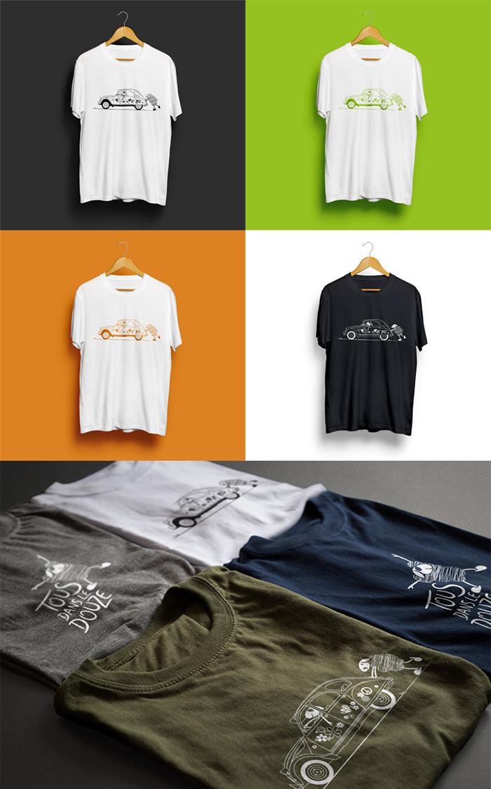 Tshirt 2cv couleur Tous dans le Douze