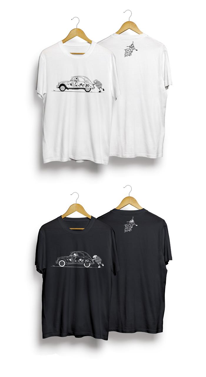 Tshirt 2cv monochrome Tous dans le Douze