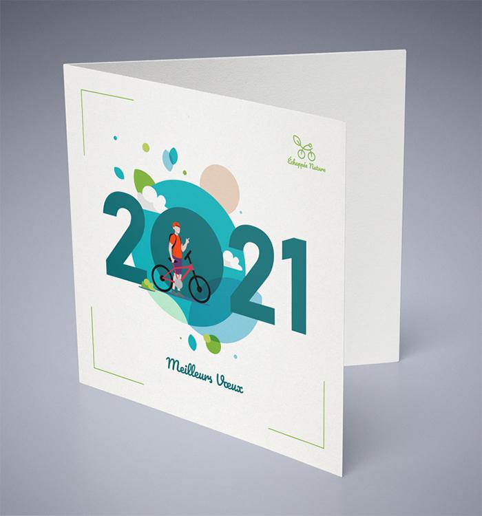 Visuel de la carte de voeux Echappée Nature 2021